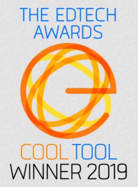Orange and blue EdTech Award badge
